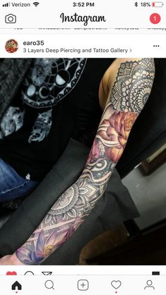 Like the mixture of black with colored ink - Tattoo - Tattoo Designs For Women Mandala Tattoo Sleeve, Full Sleeve Tattoo Design, Half Sleeve Tattoos Designs, Tattoo Designs And Meanings, Tattoo Designs For Women, Tattoo Girls, Girls With Sleeve Tattoos, Full Sleeve Tattoos, Girl Tattoos