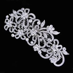 Vintage Inspired Swarovski Crystal Wedding Hair Comb,Bridal Flower Jewelry,Clear Rhinestone silver Tiara-108828976