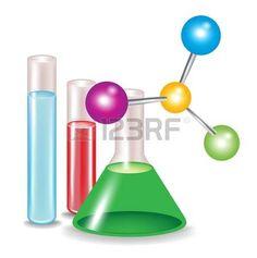 Moléculas abstractas y los contenedores de sustancias químicas.