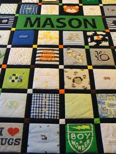 Baby Clothing Turn those precious baby clothes, receiving blankets and bibs into a memorable quilt! Pictured quilt is fashioned in a grid design using 8 squares of baby clothes, etc., framed with Baby Clothes Blanket, Old Baby Clothes, Sewing Baby Clothes, Diy Clothes, Quilt With Baby Clothes, Children Clothes, Summer Clothes, Baby Memory Quilt, Memory Quilts