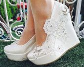 Items similar to Wedding ,Wedding  Wedges, Bridal Wedge Shoes,Bridal Shoes, Bridal Platform Wedges, Bridal Wedges , Ivory Wedding Shoes, Bridal Shoes on Etsy