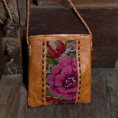 Handwoven huipile & caramel-y leather bag **Altiplano