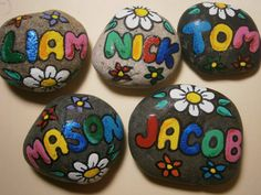 Personalized painted rocks - made to order. Send me a note with the Name, and if you wish dark or light rock color. Smooth round or oval river