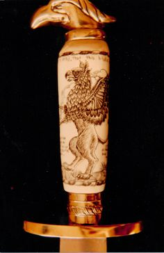 Brass and Ivory hilted knife A Gryphon Rampant, David St. Albans 1984