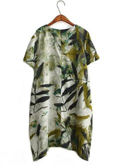 Short Sleeve Printed Wasabi Green Straight Dress on sale only US$31.11 now, buy cheap Short Sleeve Printed Wasabi Green Straight Dress at liligal.com