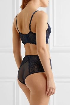 L'Agent by Agent Provocateur - Leola Stretch-lace Underwired Soft-cup Bra - Mid denim - 34DD