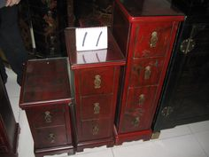 Leather covered elm accent consoles from Beijing, China