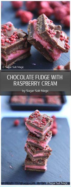 Chocolate Fudge with Raspberry Cream - Dark chocolate fudge, filled with a raspberry fondant cream. #chocolatefudge #valentinesrecipes via @sugarsaltmagic