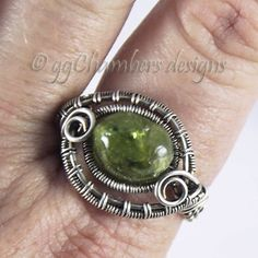 Peridot and Antiqued Sterling Silver Woven Wire Ring