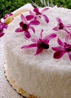 Coconut cake from the Halekulani Hotel in Honolulu. This is honestly the BEST cake I have ever had! We tried it in Honolulu last fall and if I ever get married this will be the cake I serve. Foodgasm.