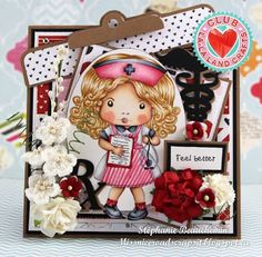 From our Design Team! Card by Stéphanie Beauchemin featuring Club La-La Land Crafts February 2016 exclusive Nurse Marci, Feel Better stamp set and these Dies - Clipboard Border, Stethoscope, Medical Elements, Bandaid :-) Club La-La Land Crafts subscription details are here - http://lalalandcrafts.com/Club_La-La_Land_Crafts.html  Coloring details and more Design Team inspiration here -  http://lalalandcrafts.blogspot.ie/2016/03/club-la-la-land-crafts-february-2016.html
