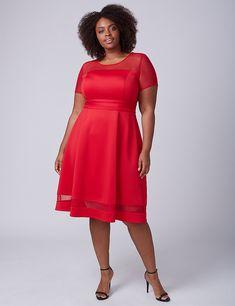 Mesh-Sleeve Scuba Fit & Flare Dress | Lane Bryant