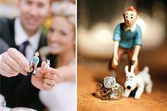 Tintin, Snowy, rings. • Tintin at a couple's wedding • Tintin wedding rings • Tintin gateaux
