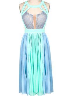 Blue Sleeveless Hollow Pleated Chiffon Dress