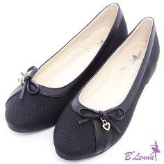 BLenna甜美網紋蝴蝶結愛心水鑽娃娃鞋*優雅黑