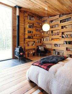 This Tiny Guesthouse Filled With Books Is The Perfect Woodsy Escape - I would love to live here, but who is going to keep it all neat and tidy?