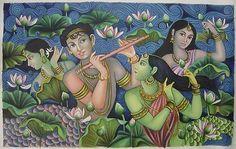 Hindu Art | RADHA HANDMADE Modern Oil Painting Hindu Religious God Goddess Art ...
