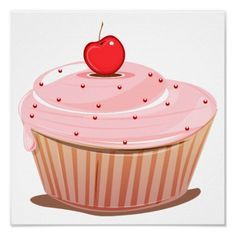 Cupcake with Cherry on Top Poster