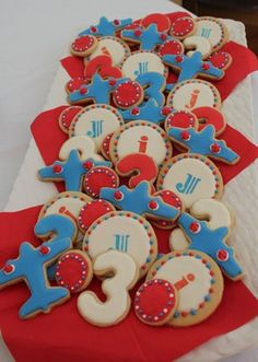 Lemon sugar cookies for an airplane themed 3rd birthday party.