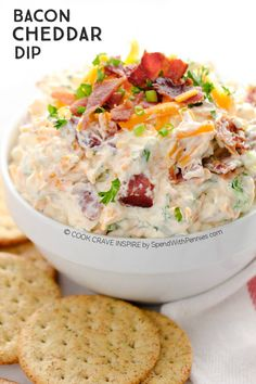 This delicious Bacon Cheese dip takes just 5 minutes to make and is the hit of every party! Loaded with bacon and cheddar cheese, it's perfect for dipping chips, crackers or veggies.
