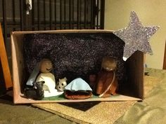 Nativity scene with recycled materials.