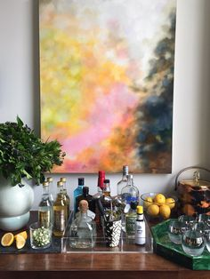 The Colorful Downtown Nyc Home Of Tilton Fenwick'S Suysel Depedro Cunningham Decorating Blogs, Bars For Home, Beautiful Artwork, Color Inspiration, Amazing Art, Natural Design, Nyc, Watercolor Ideas, Bar Carts