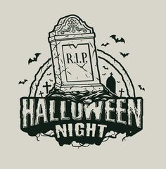 Monochrome Halloween R.I.P. cemetery vector illustration with a light background. From 21 Halloween apparel designs which can be used to create an awesome Halloween costume. Available on www.dgimstudio.com. 30% OFF! #vector #halloween #rip #cemetery #halloweencostume #vectorillustration #tshirtdesign