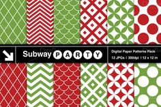 Xmas Red Green Retro Geometric Paper by SubwayParty on Creative Market