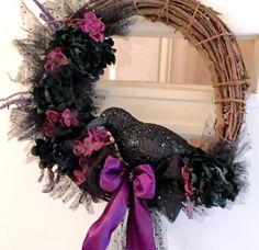 Halloween Wreath, Rustic Wreath, Halloween Outdoor Decor, Halloween Door Hanging, Raven Wreath, Black Crow Wreath, Halloween Door Wreath by Ancientvibrationshop on Etsy