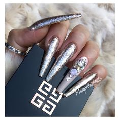 Rose Gold Bling Extra Long Coffin Nails by MargaritasNailz glitter ombré nail art fashion design