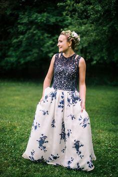 Blue and White Wedding Ideas - european-outdoor-garden-wedding-blue-dress-inspiration56