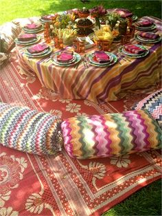 Missoni Heiress Wedding a Wonderfully Colourful Affair - Editors Blog | The Knot gypsy picnic, love the bold cushions and striped tablecloth