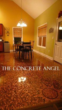 custom flooring, unique flooring, contractor, penny floor, penny art, epoxy