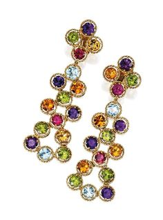 Pair of 18 Karat Gold and Colored Stone Pendant-Earclips, David Webb