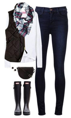 White shirt, black quilted vest, dark jeans, black hunters, and plaid scarf