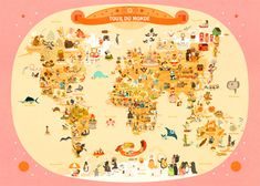 Around the world poster - en francais.  Adorable.