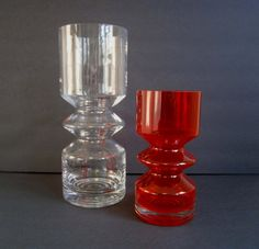 Finnish Glass vases designed by Tamara Aladin for Riihimaki/Riihamaen Lasi Oy. 1960s