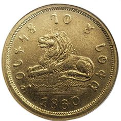 Mormon gold coin, 1860.  Mormons minted their own money & coins in the 1800s in order to become self-sufficient.  The inscription around the edges is in Deseret letters.