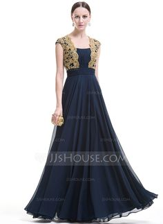 A-Line/Princess Square Neckline Floor-Length Chiffon Evening Dress With Ruffle Beading Appliques Lace Sequins (017074993)