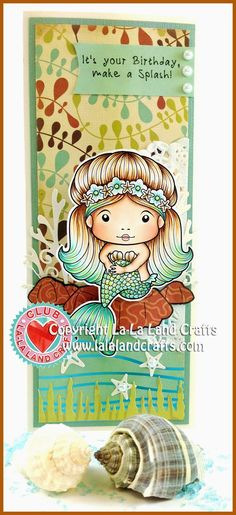 Card from Irina Blount featuring the Club La-La Land Crafts (August) exclusive Sitting Mermaid Marci and exclusive dies Seaweed Border and Under the Sea Set. Club La-La Land Crafts subscription details are here - http://lalalandcrafts.com/Club_La-La_Land_Crafts.html Coloring details and more Design Team inspiration here - http://lalalandcrafts.blogspot.com/