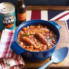 Sausage and Bean Hotpot.This comforting recipe uses two store cupboard favourites - Baked Beans and Worcestershire Sauce Baked Bean Recipes, Uk Recipes, Sausage Recipes, Cooking Recipes, Recipies, Simple Recipes, Recipes Using Baked Beans, Sausage Meals, Bratwurst Recipes