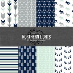 Northern Lights. Navy Mint and Gray Bedding. by maxandgrace