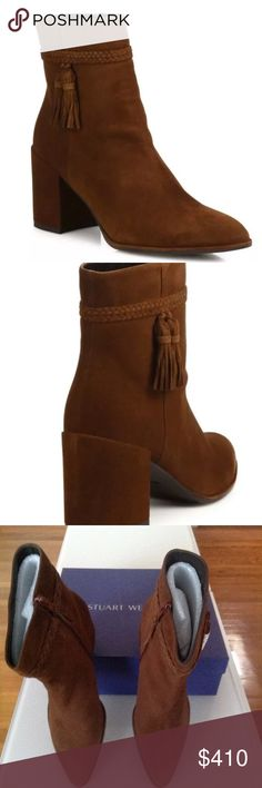 "Stuart Weitzman Tazzie Tassel Suede Booties 39 Tazzie Tassel Suede Block-Heel Walnut Booties, Size 9  • Boho-chic suede bootie with braided tasseled cuff • Self-covered block heel, 2.5"" (65mm) • Suede upper • Point toe • Side zipper • Leather lining • Rubber sole • Padded insole • Made in Spain Stuart Weitzman Shoes Ankle Boots & Booties"