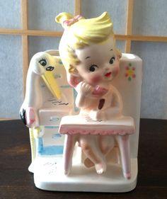 1963 Nursery Planter Little Girl at Desk on phone by Frommyattik