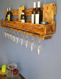 WINE rack EURO pallet furniture vintage wall shelf wooden bar