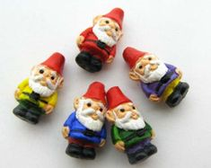 4 Tiny ceramic beads - Garden Gnome Beads - peruvian beads, clay beads, fairytale beads - CB905