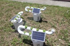 Hydroponics #solarpower #sustainability. Nice way of pumping the solution...a solar panel as the power source!