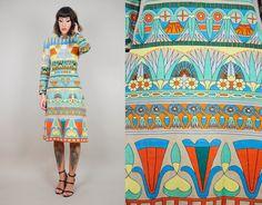 GOLDWORM Merino wool 60's Art DECO folk floral Rare ethnic shift dress knit novelty GEOMETRIC Medium