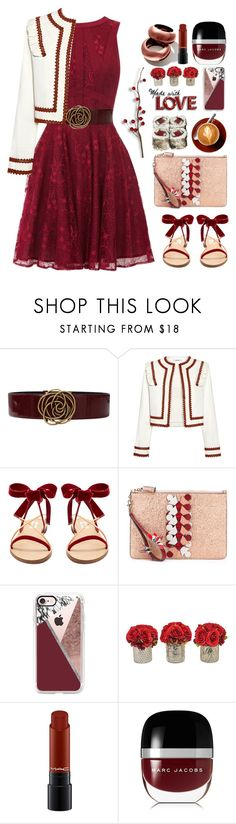 """""""09.08.17"""" by malenafashion27 ❤ liked on Polyvore featuring Oscar de la Renta, Ganni, Valentino, Anya Hindmarch, Casetify, The French Bee, MAC Cosmetics and Marc Jacobs"""