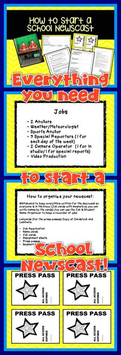 How to Start a School Newscast is a guide to help teachers or administrator start a school newscast. Materials lists, steps, hints, and printable guides will help you get started. This project helped get my students engage in learning and increased their communication skills. Students become so excited about finding news stories they don't even realize that they are writing and reading. Their fluency increases while enjoying the project!